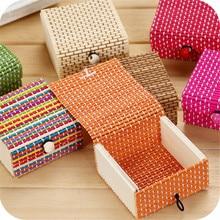 Bamboo Wooden Desktop Storage Basket Sundries Container Jewelry Organizer Storage Box Strap Craft Square Case Organizer Cases