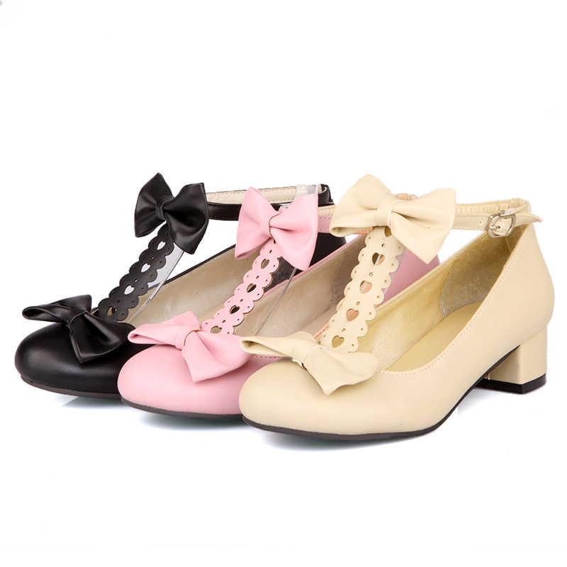 2019 Nieuwe zoete Lolita Japanse boog dikke korst dikke zwart Beige Roze COS vrouwelijke student schoenen tij med hakken 3.8cm Plus Size 31