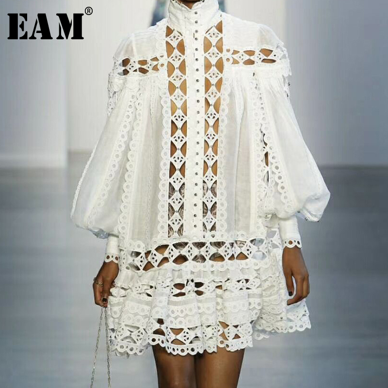 [EAM] 2019 Spring Summer Woman Sexy Stylish White Color Turtleneck Spliced Ruffle Long Lantern Sleeve Loose Hollow Dress LE883