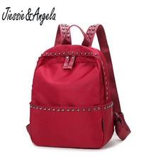 Jiessie & Angela случайные девушки рюкзак дорожные сумки водонепроницаемый нейлон школьный рюкзак женщин сумки на плечо черный и красный Mochila