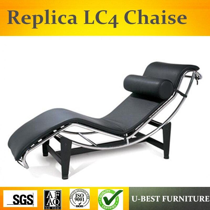 U-BEST chaise longue, cygne salon chaise, Le Corbusier vachette méridienne acier inoxydable poney en cuir chaise longue LC4