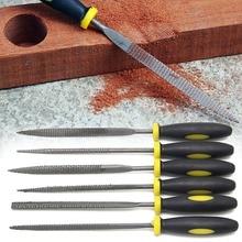 6Pcs 140mm Mini Metal Filing Rasp Needle File Wood Tools Hand Woodworking Files Tool extra sand titanium knife flat oval oblique rasp file suit shaping metal abrasives