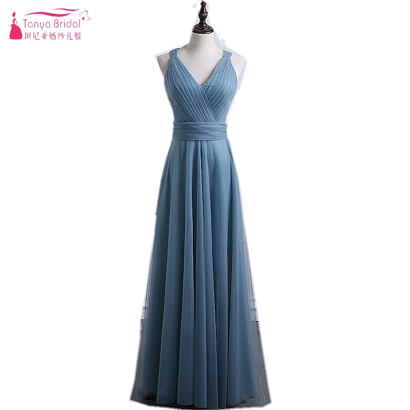 A Line Bridesmaid Dresses V Neck Grey Blue Soft Tulle Long