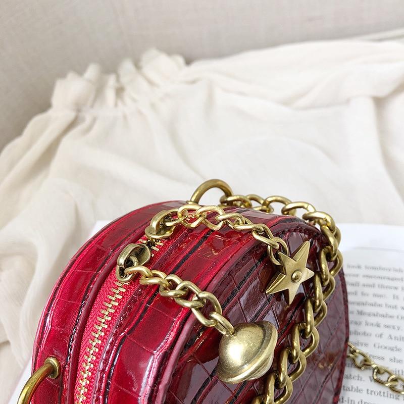 Female Crocodile Pattern Round Crossbody Bags Women 2019 Quality Leather Luxury Handbags Designer Ladies Shoulder Messenger Bag