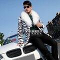 2015 НОВЫЙ бренд моды случайные средней длины искусственного меха пальто Леопарда пальто мужская одежда певица костюмы плащ