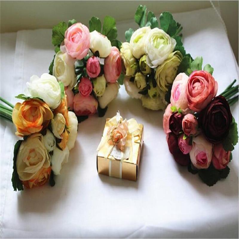 10 koka me trëndafila artificiale Buqeta e dasmave Lule dekorative e - Furnizimet e partisë - Foto 2