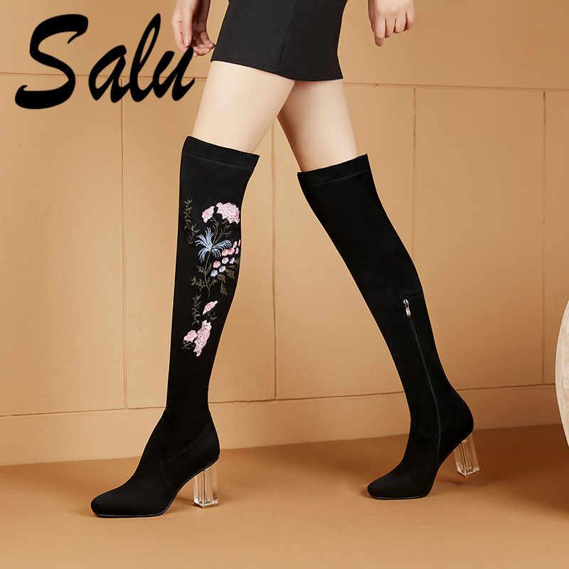 สำหรับขายใหม่ Night Club PROM ผู้หญิงสูงรองเท้าหนังนิ่มหนังฤดูใบไม้ร่วงฤดูหนาวรองเท้าผู้หญิงเซ็กซี่ Rhinestone ยาว Knight