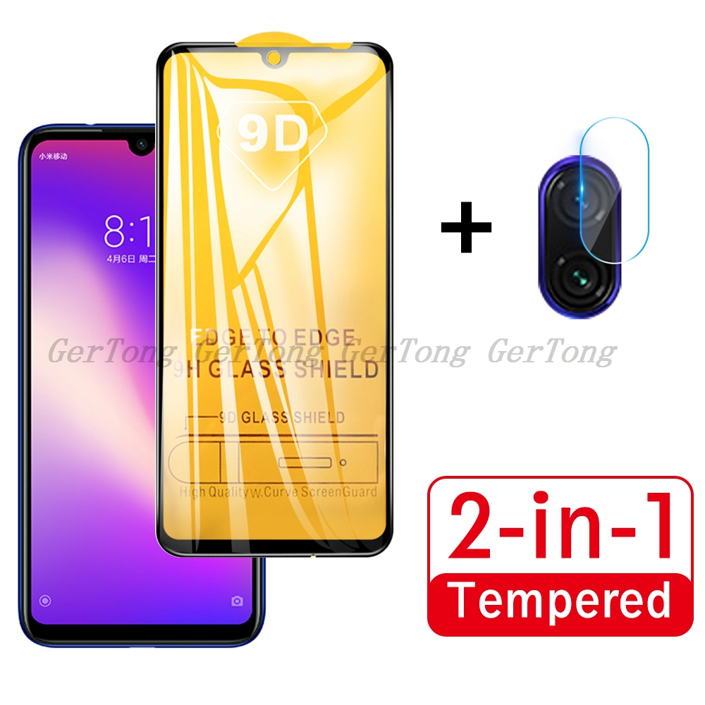 2 in 1 On Redmi Note 8T Tempered Glass for Xiaomi Redmi Note 7 8 Pro New Full Cover Screen Protector Camera Lens Protective Film(China)