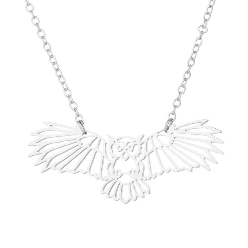 Owl necklace animal jewelry origami necklace geometric necklace bird necklace