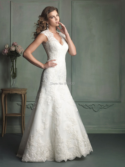 c497a155d0b7 Fit and flare V neck wedding dress see through back lace bridal gown with  long train