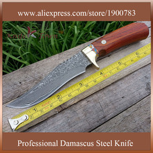DT046 damascus knife yellow sandal handle outdoor hunting knife camping knife military knife faca csgo