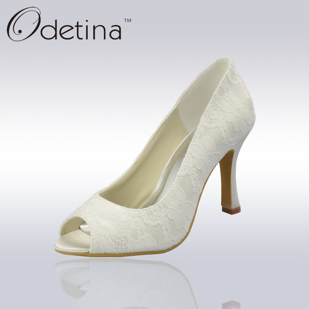 Roller pump shoes - Odetina Handmade Lace Wedding Shoes White Satin Bridal Shoes Womens Peep Toe Pumps Bridesmaid High Heels Formal Party Shoes