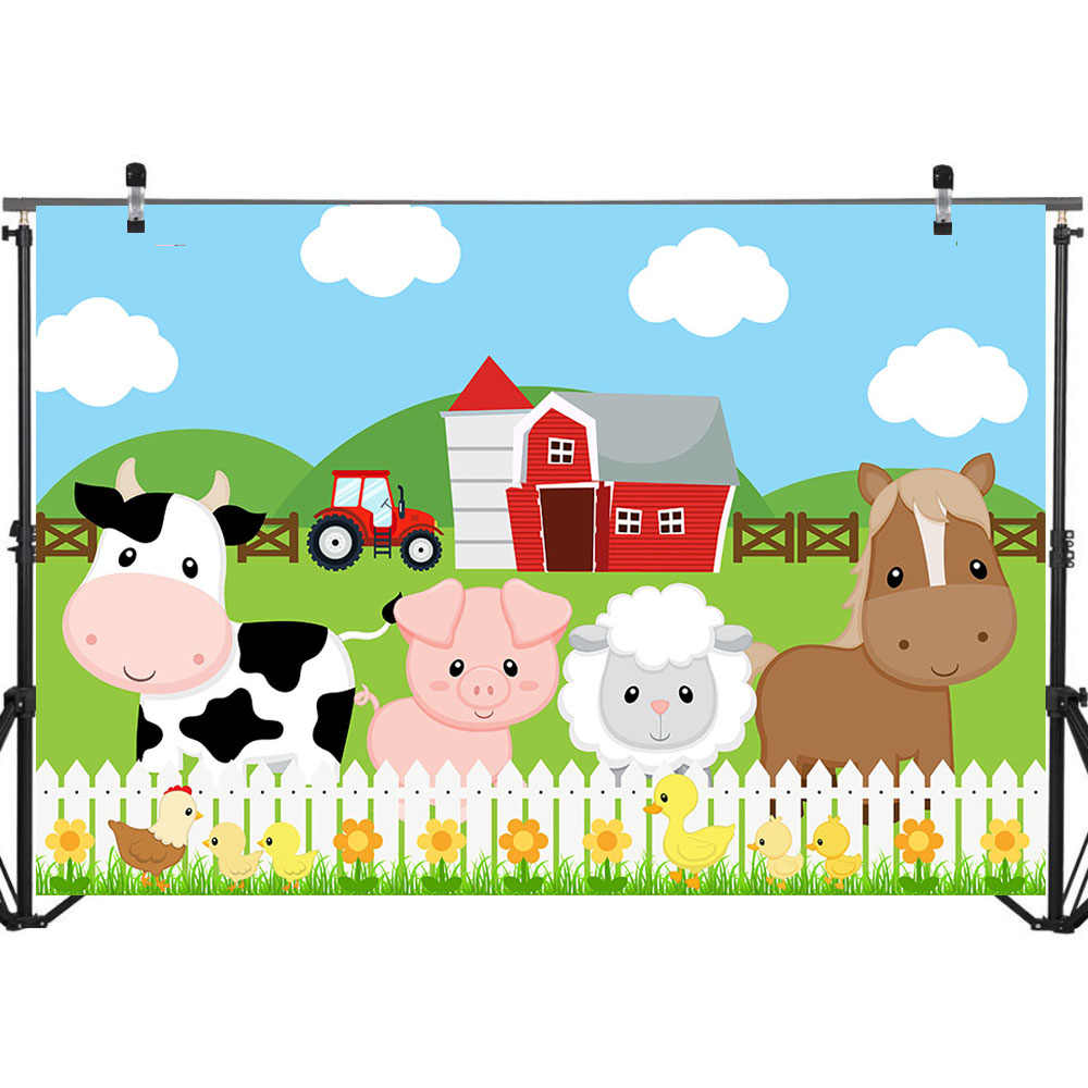 NeoBack Farm A Tema Photography Fondali Rosso Barn Barnyard Trattore Animali Foto di Sfondo per Bambini Festa di Compleanno Sfondo