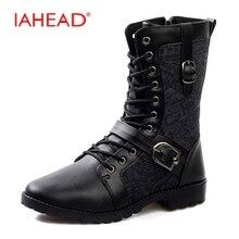 Iahead Новый Дизайн Мужские ботинки модные зимние высокие сапоги ковбойские ботинки Повседневная Мужская обувь мотоботы MH553