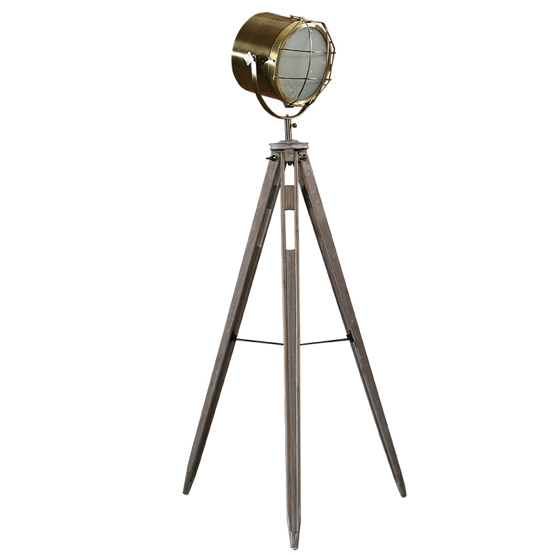 Post-modern tripod antique floor lamp searchlight living room bedroom archaize wood holder individual gold chrome standing lamp