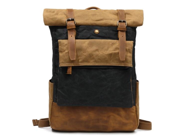 Vintage Waxed Canvas Backpack School Waterproof Travel Bag Double Retro Rucksack Duffelbag Weekender Bagpack