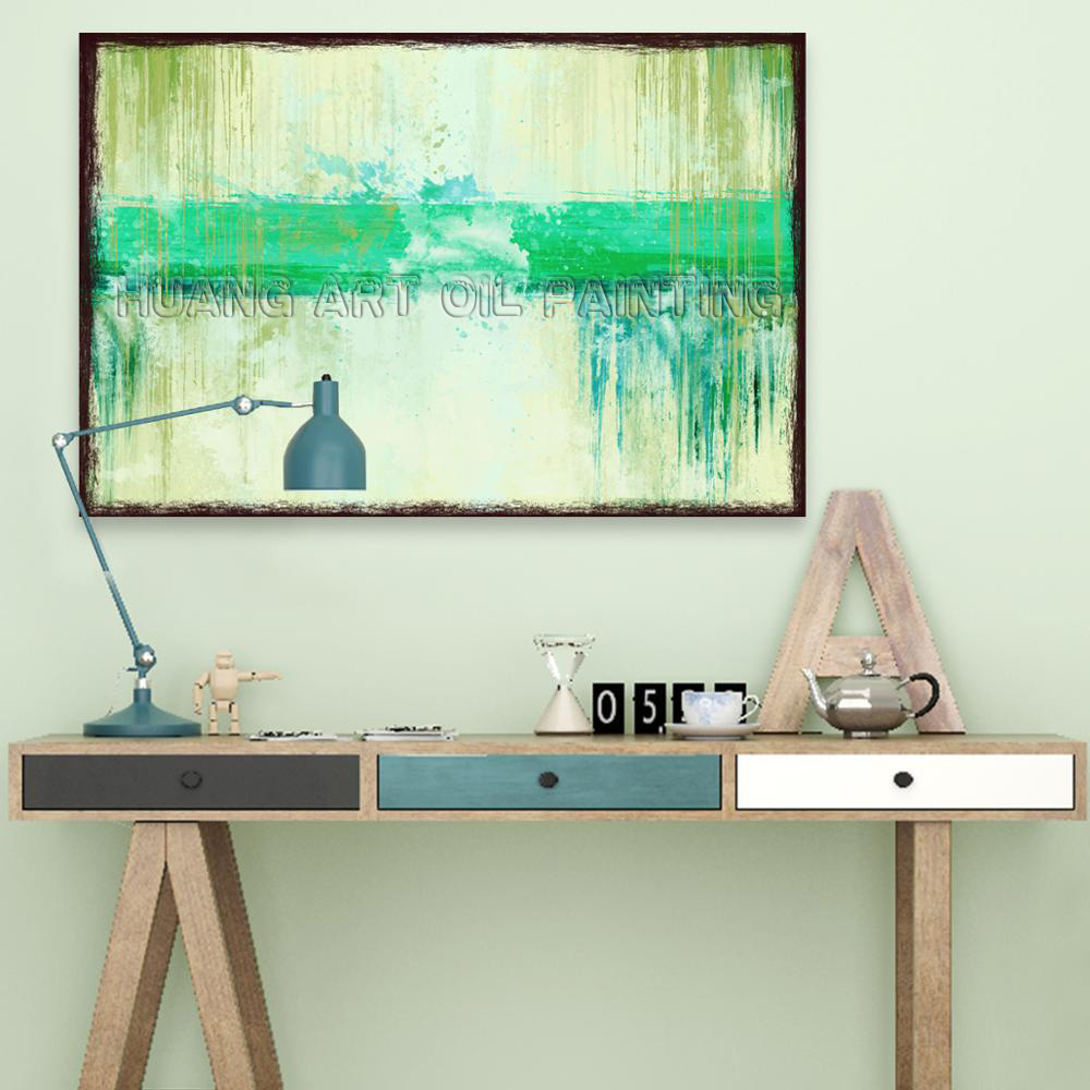 Original Handmade Modern Wall Art Oil Painting on Canvas Hand Painted Modern Green Abstract Oil Painting for Living Room Decor in Painting Calligraphy from Home Garden