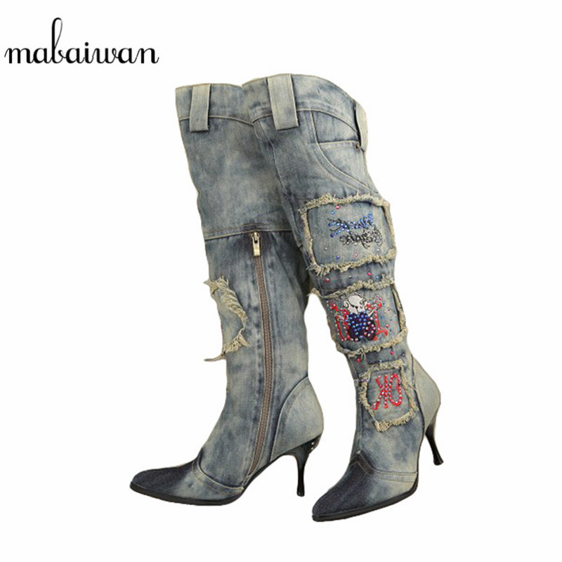 Women Vintage Side Zipper Denim Boots Thin High Heel Pointed Toe Crystal Knee High Boots Winter Warm Jeans Long Botas Mujer hot selling 2015 women denim boots pointed toe tassel patchwork knee high boots crystal thin high heels winter motorcycle boots
