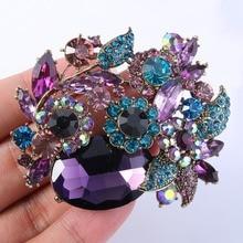 Tuliper Flower Leaf Brooch Pins Austrian Crystal Rhinestone For Women Girl Party Jewelry Valentine Mother Best Gift