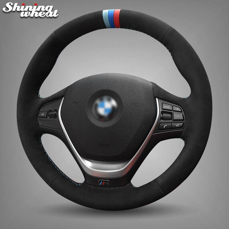 Блестящие пшеницы черная замша синий и красный цвета маркер рулевого колеса автомобиля крышки для BMW F30 320i 328i 320d F20