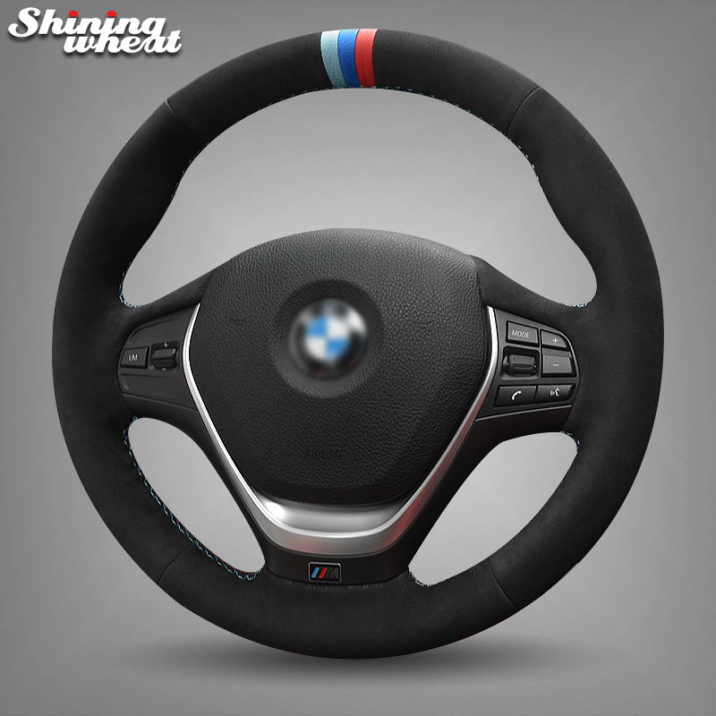 Shining wheat Black Suede Blue Red Marker Car Steering Wheel Cover for BMW F30 320i 328i 320d F20 mewant black artificial leather car steering wheel cover for bmw f30 316i 320i 328i