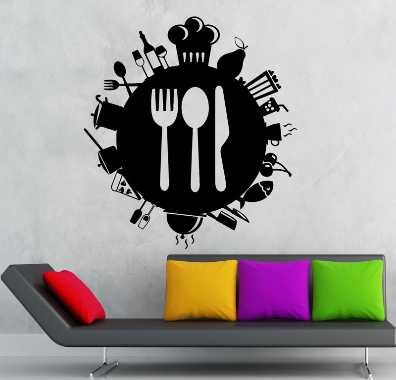 Personalized Kitchenware Cutlery Food Icon Vinyl Sticker Kitchen Restaurant Home Decor Wall Sticker CF22-in Wall Stickers from Home & Garden