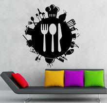 Utensilios de cocina personalizados cubertería comida icono vinilo pegatina cocina restaurante hogar Decoración de pared pegatina CF22