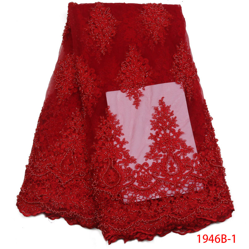 2018 High Quality Red Color African Tulle Lace Fabric Beautiful French Mesh Tulle Lace Fabric With Handmade Trim Beads 1946B 1
