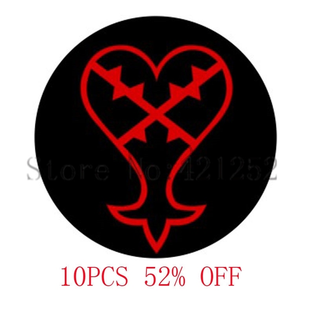 Red Heartless Symbol Kingdom Hearts Glass Cabochon Pendants Jewelry