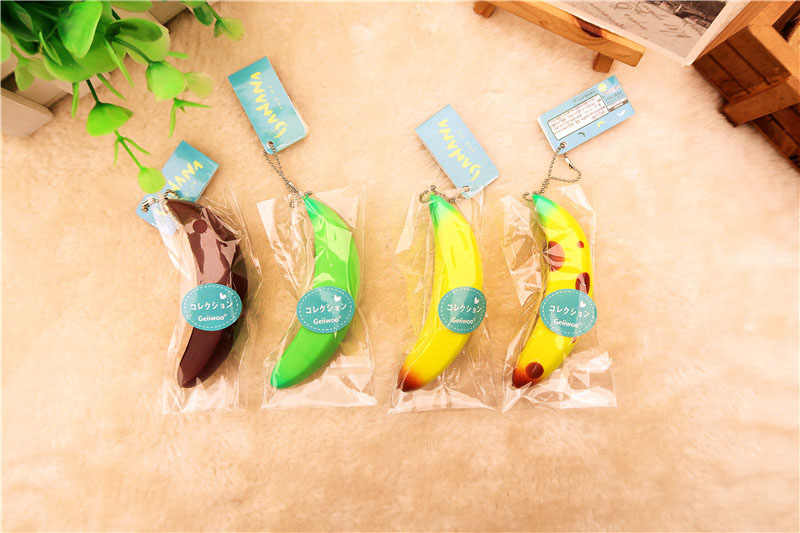 Kuutti Squishy Random 1 pc Mini 4 Designs Authentic Cute Kawaii Fruit Banana Soft Toy Phone Strap with tag Free Shipping