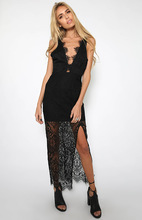Free Shipping 2016 Fashion V neck halter sleeveless lace sexy long dress