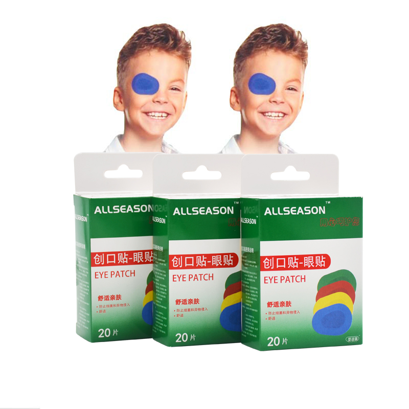 Free Shipping 60 PCs/3Boxes Colorful Breathable Eye Patch Band Aid Medical Sterile Eye Pad Adhesive Bandages First Aid Kit