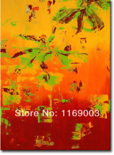 Cheap Abstract modern canvas art knife paint famous orange oil painting only on canvas for living room wall office decoration