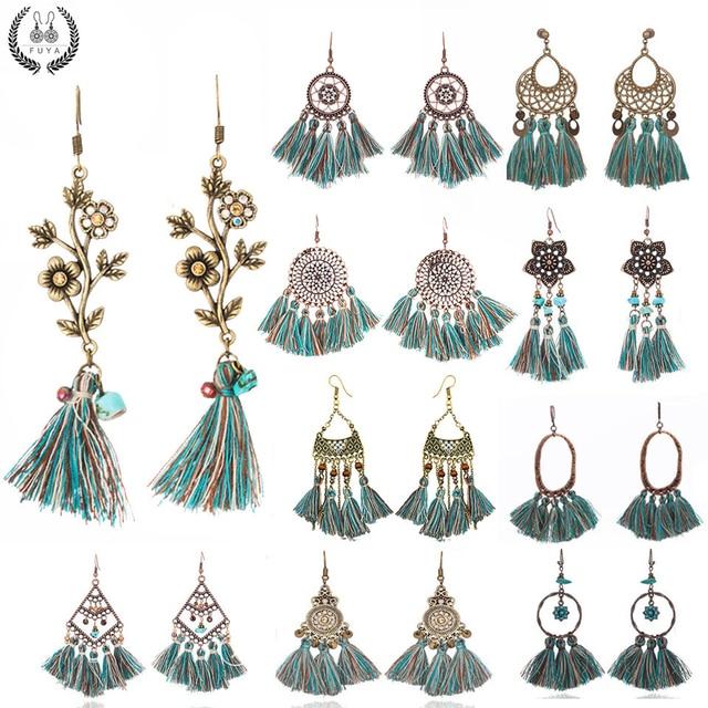 Exaggerated natural stones bead long tassel earrings 2018 New bohemian brincos b