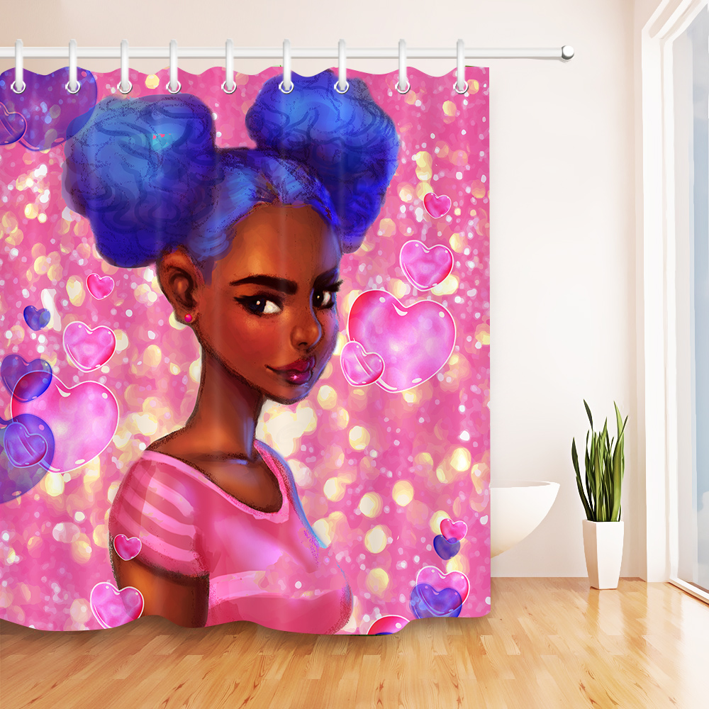 Make-up Afro-American Girl Shower Curtain Liner Bathroom Polyester Fabric Hooks