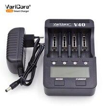 V40 Varicore carregador de bateria 3.7 V 18650 26650 18500 16340 14500 18350 bateria de lítio 1.2 V aa/aaa de níquel-metal hidreto recha