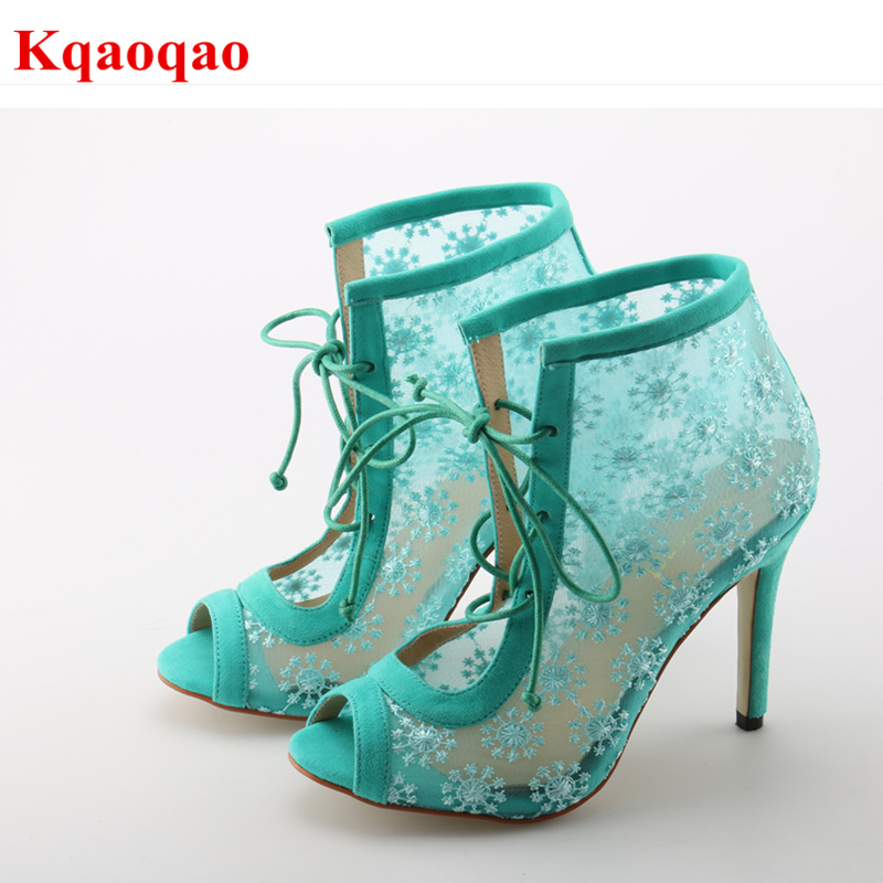 Brand Peep Toe Women Spring Autumn Boots Thin High Heel Shoes Front Lace Up Shoes Flower Pattern Lace Design Chaussures Femmes