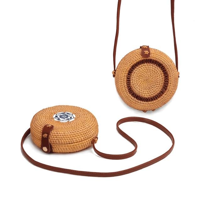 Round Multi Style Straw Weaving Ceramics Women Summer Rattan Bag Handmade Woven Beach Circle Bohemia Cosmetic Bag