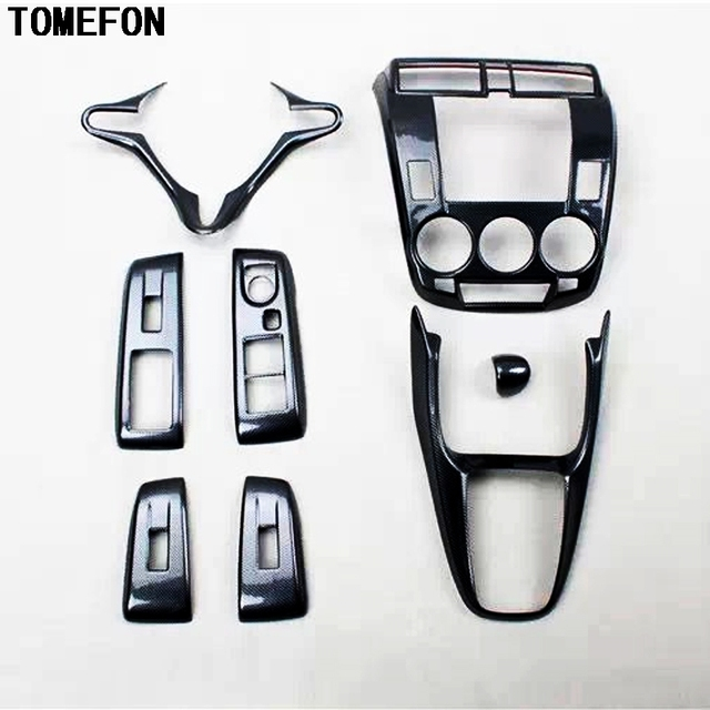 For Honda City 2008 2012 LHD AT Carbon Fiber Paint Gear Shift Window Botton  Air