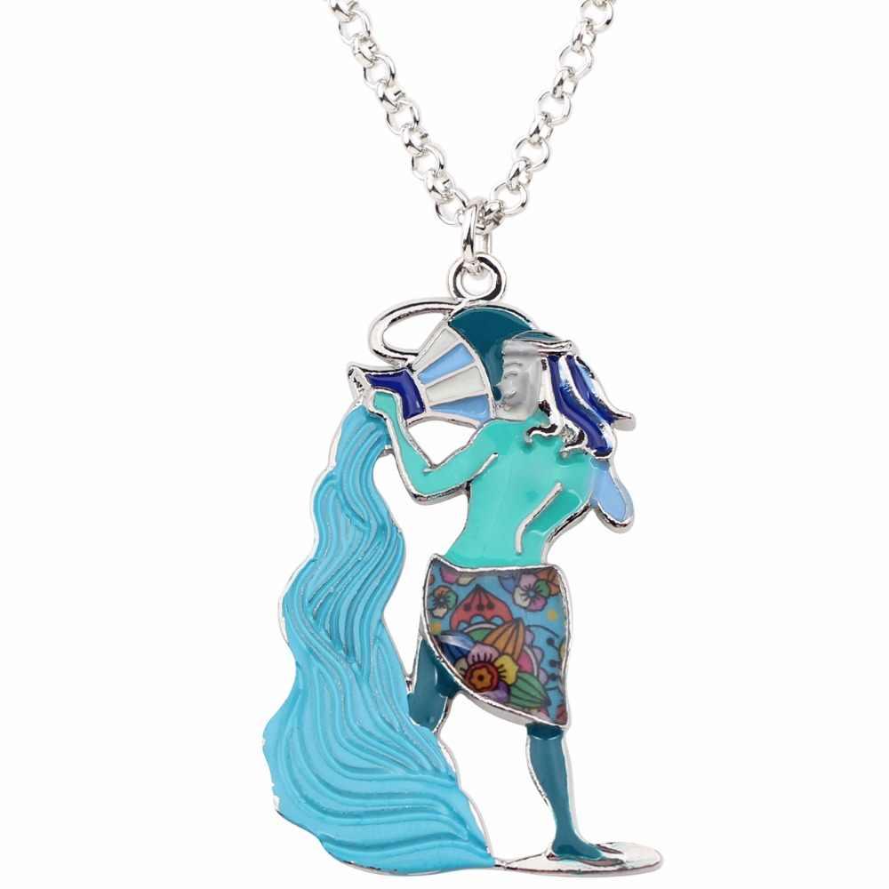 Bonsny-collier pendentif ras de cou en émail, style métal, alliage de forme zodiaque, Bonsny, collier en chaîne, pendentif à la mode, 2018
