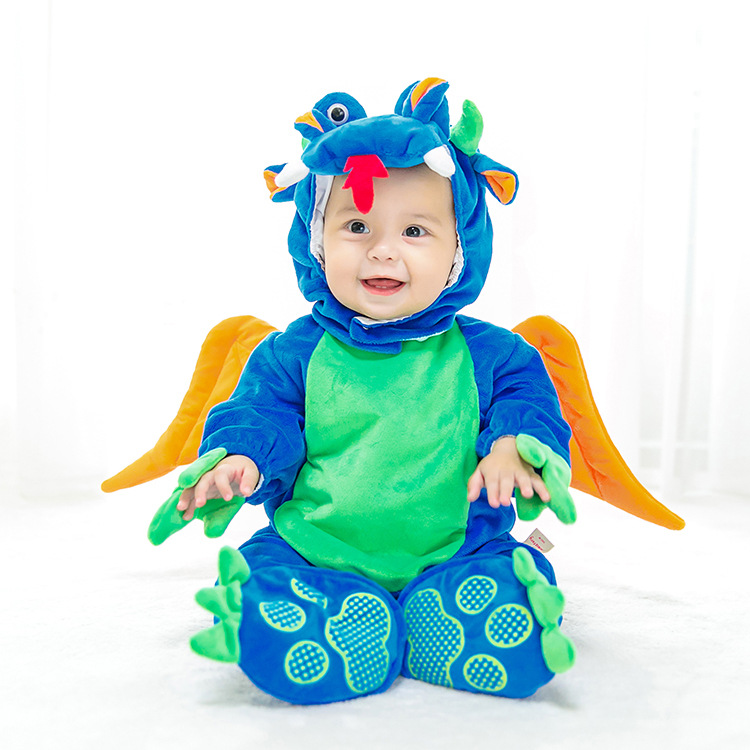 Kid Animal Cosplay Jumpsuit Blue Dinosaur Cosplay One-Pieces Hat Shoes 3PCS Set Baby Pterosaur Fairy Carnival Disguisement