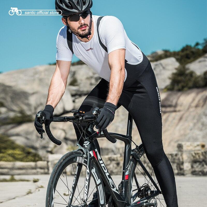 Santic MenCycling комбинезон 4D обивка зима горный велосипед Warmful Велоспорт нагрудник длинные штаны теплый флис M8C04104