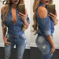 CELMIA Women Off The Shoulder Sexy Denim Shirts 2017 Ladies Turn Down Collar Long Sleeve Blue