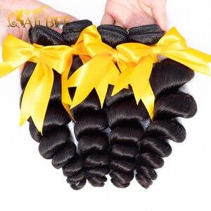Image 3 - Loose גל צרור עם פרונטאלית שיער טבעי 3 צרור עם תחרה פרונטאלית סגירת רמי ברזילאי שיער מארג צרור וחזיתית