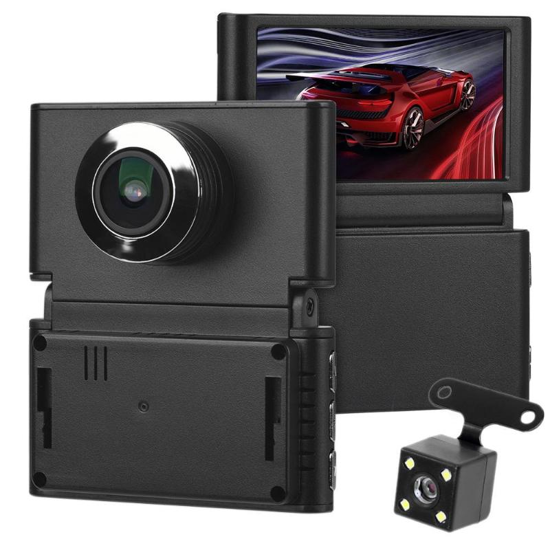 VODOOL 2.45 inch IPS Dual Lens 1080P HD Car DVR Wireless WiFi Foldable Vehicle Car Reversing Parking Video Recorder Dash Cam
