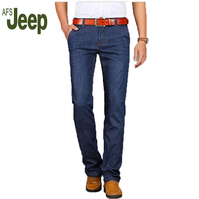 2016 new AFS JEEP men's jeans business casual classic trousers modal thin section straight jeans trousers 82
