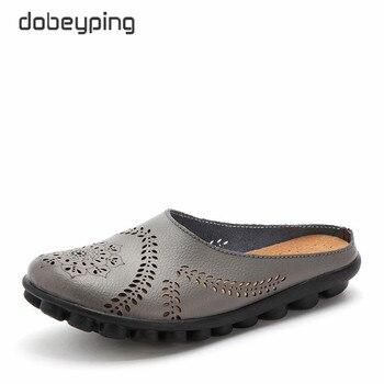 Dobeyping New Cut-Outs de Verão Sapatos Mulher Genuína Mulheres de Couro Apartamentos Mocassins Sapato Feminino Sólida das Mulheres Ocas Plus tamanho 35-44