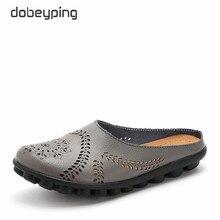 Dobeyping novo corte outs sapatos de verão mulher de couro genuíno mulher apartamentos mocassins femininos ocos sapato sólido feminino mais tamanho 35 44