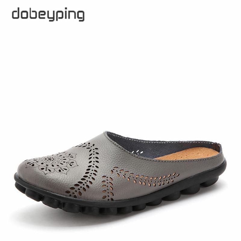 Dobeyping nuevos recortes verano Zapatos Mujer mujer de cuero genuino Flats Hollow de las mujeres sólido femenino más tamaño 35-44
