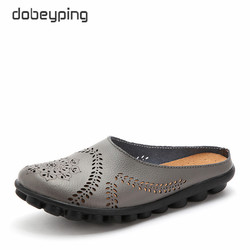 dobeyping New Cut-Outs Summer Shoes Woman Genuine Leather Women Flats Hollow Women's Loafers Female Solid Shoe Plus Size 35-44